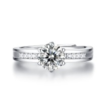 0.5 - 3 CT DEF Moissanite Lingering charm Ring Sterling Silver nine star wedding Rings Platinum plating adjustable size