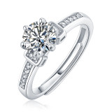 0.5 - 3 CT DEF Moissanite Only love diamondring Ring Sterling Silver nine star wedding Rings Platinum plating adjustable size