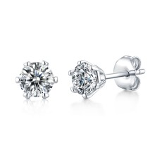 0.5 - 1CT DEF VVS 5mm Moissanite Rain and snow earrings  Sterling Silver Snow Stud Earring Platinum plating 2pcs/pair
