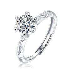 0.5-3 CT DEF VVS 6.5mm The Oath of Love Moissanite Diamond Sterling Silver Classic Ring  Platinum plating adjustable size