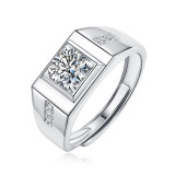 1 CT DEF Moissanite Rich square diamond male ring ring male Sterling Silver Man Classic wedding Rings Platinum plating adjustable size