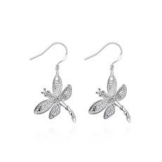 Stone inlaid Dragonfly Earrings Dragonfly shaped Silver Earrings