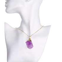 Natural stone purple crystal necklace with 48CM chain