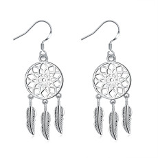 Fashionable hollow round hanging Feather Earrings