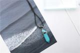 Новый натуральный камень кожа веревка геометрическое Кристалл Ожерелье 1 * 3.5 см с шестигранной Камень Ожерелье с цепью 45 СМ