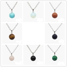 New round natural stone bead Round Pendant Necklace with 45CM chain
