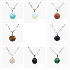 Nouveau collier pendentif rond en perle de pierre naturelle avec chaîne de 45 cm