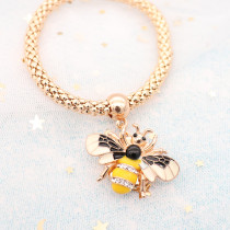 20MM bee snap gold plated with rhinestone and enamel KC9447 snaps jewelry