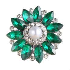 20MM design snap Silver Plated With green rhinestones and pearl charms KC9448 snaps jewerly