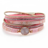 Natural stone fashion and multi-layer Korean plush leather gold-plated magnetic buckle woven 38CM women's Bracelet