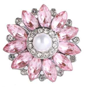 20MM design snap Silver Plated With pink rhinestones and pearl charms KC9451 snaps jewerly