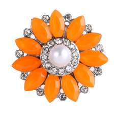 20MM design snap Silver Plated With orange rhinestones and pearl charms KC9449 snaps jewerly