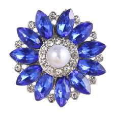 20MM design snap Silver Plated With blue rhinestones and pearl charms KC9450 snaps jewerly