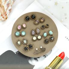 Juego de aretes de resina de ojo de gato Juego de aretes de piedra natural para mujer, 12 pares