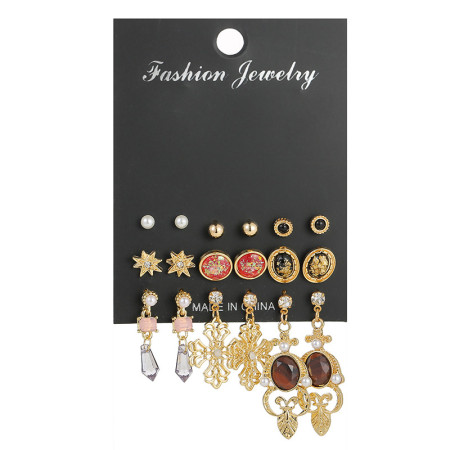 Baroque black resin Cross Earring Set 9 pairs of retro Earrings