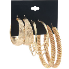 Earring combination suit female border gold spring Earrings 3 pairs of iron ring earrings accessories