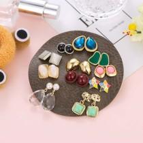 Juego de aretes de resina de ojo de gato Juego de aretes de cristal para mujer con pequeñas estrellas coloridas 11 pares