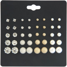 20 pairs of large and small pearl suit earrings, female six claw Zircon Earrings, female pearl inlaid with diamond jewelry