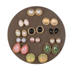Juego de aretes de resina de ojo de gato Pendientes de perlas femeninos 12 pares