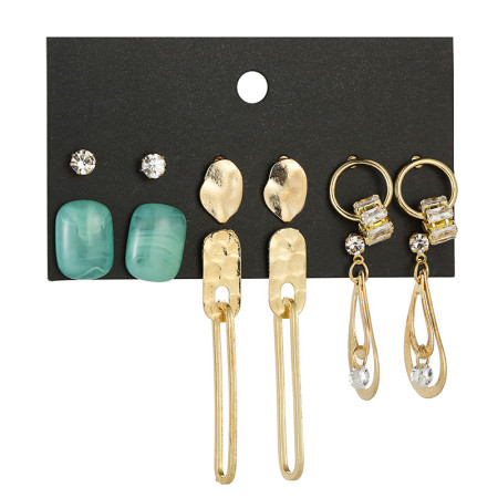 Fashion Earring Set Bohemian grandmother's 6-Piece set of Green Stone Earrings