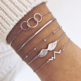 ECG wing Bracelet personality Beaded round tube circle simple 5-piece suit Bracelet