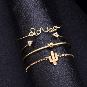 Love letter cactus knot 4-piece Bracelet retro triangle Diamond Bracelet Set Bracelet