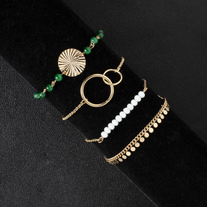 Tassel water wave texture Bracelet Hand Beaded white green contrast geometry 4-piece Bracelet