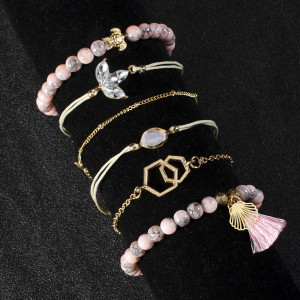 Pink pattern Beaded Fringe Bracelet personality tortoise water drop jewel 6-Piece Bracelet