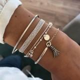 Einfache silber glänzende Quaste Armband Armband Persönlichkeit mehrschichtige Kettenscheibe 4-teiliges Set Armband