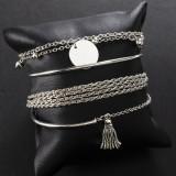 Простой серебряный блестящий кисточкой браслет браслет личность многослойная цепочка диск 4 шт набор браслет