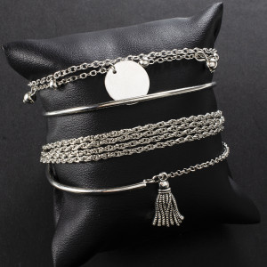 Simple silver glossy tassel bracelet bracelet personality multi-layer chain disc 4-piece set Bracelet