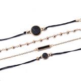 Браслет с черным бирюзовым узором, цепочка на руку, тренд черного квадрата, костюм из 4-х частей, ручное украшение