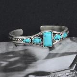Богемный винтажный браслет с бирюзовой геометрией и регулируемым отверстием для кольца