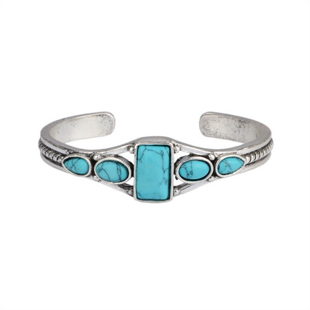 Bohemian Vintage Turquoise cut out geometry bracelet with adjustable ring opening