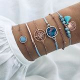 Blue beading, tassel, hand string, ocean color compass, bluestone personality, 6-Piece Bracelet