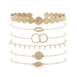 Retro round leaf totem metal texture Bracelet simple design European and American shell chain 6-Piece Bracelet