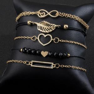 Веревка ручной работы с черными бусинками любовный браслет Евроамериканский элемент из 8 символов черные геометрические квадратные листья 5-элементный браслет