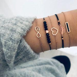 Cuerda de mano con brazalete de cuentas de amor negro Elemento de 8 caracteres euroamericano Hojas cuadradas geométricas negras Pulsera de 5 piezas
