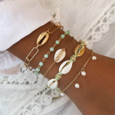 Gold shell exaggerated chain bracelet hand woven jelly pearl 5-piece Bracelet
