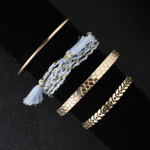 Simple blue rope tassel long bracelet with retro pattern aircraft chain four piece set