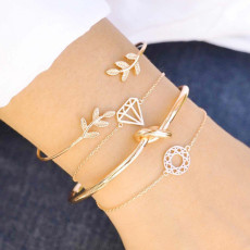 Leaf diamond knot carved hollow Bracelet Set