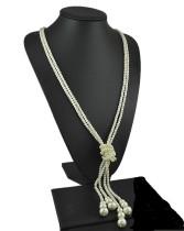 Sautoir, collier de perles multicouches, deux chaînes de nœuds détachables, 120 cm