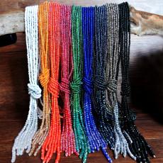 Collier en cristal long multicouche perles de riz faites à la main 120cm