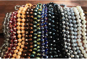 Multi layer color crystal long necklace Hand Beaded 90cm