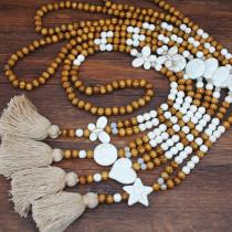 Perles en bois faites à la main, perles, collier pompon en coton