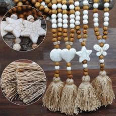 Cuentas de madera hechas a mano, cuentas, collar de borla de algodón