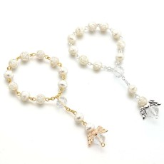 Angel baptism gift acrylic Rose Beads Bracelet Rosary Beads love angel wings Bracelet