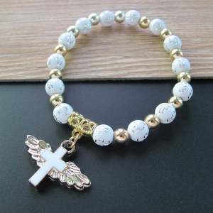 Gold stamping acrylic cross Beads Bracelet oil dripping Angel cross Beads Bracelet