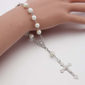 White Pearl cross Jesus Bracelet