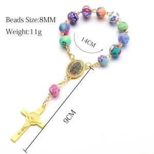 Soft pottery Rosary Bracelet, Cross Bracelet